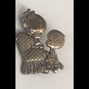 STERLING PIN silver brooch vintage children story